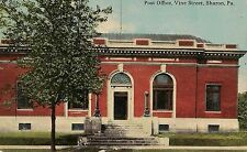 Post Office on Vine Street in Sharon PA Postcard 1913