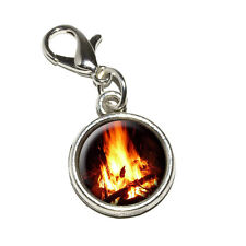 Campfire - Camp Camping Fire Pit Logs Flames - Bracelet Charm with Lobster Clasp