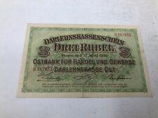 Germany 1916 3 Rubel R123b Banknote VF/XF