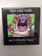 Vintage Old Rare PC Computer Collectible LANtastic Voice 'Save your wails' Pin