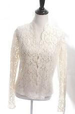 CB VENTILO Chemise Blanche Designer Lace Wedding Bride Pearl Cardigan 40 M