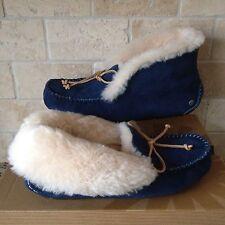 UGG Alena Midnight Navy Blue Suede Fur Cuff Mocassins Slippers Size US 6 Womens