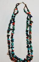 2 strand necklace with turquoise, lapiz, spiny oyster and other stones; preowned