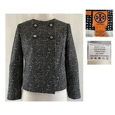 TORY BURCH Women's 4 B+W Abstract 3/4 Sleeve Round Neck Cotton Wool Silk Jacket
