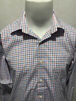 PETER MILLAR Plaid Check Long Sleeve Spandex Cotton Mens Button Down Shirt Large