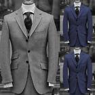 Men Gray Blue Wool Suits Vintage Formal Wedding Groom Best Man Business Suits