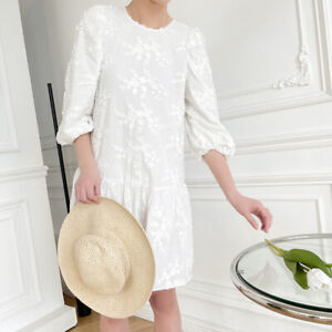 Women Puff Sleeve Loose Fit Floral Embroidered Crew Neck Cotton Korean Dresses