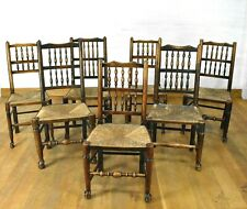 Antique spindle back farmhouse dining chairs x 7