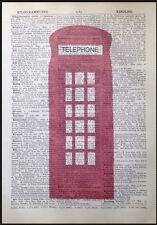 TELEFONO ROSSO BOX vintage stampa pagina dizionario WALL ART PICTURE Telefono Londra