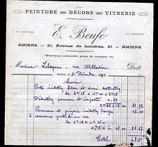 "AMIENS (80) PEINTURE DECOR VITRERIE ""E. BEUFE"" en 1930"