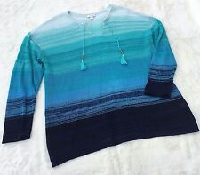 J.Jill Dip Dyed Ombre Blue White Stripe Knit Sweater Extra Large XL LINEN Beaded
