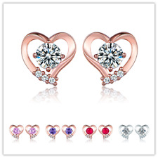 HUCHE 18K Rose Gold Filled Hollow Heart Sapphire Diamond Lady Stud Party Earring