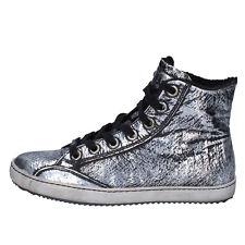 scarpe donna CULT 36 sneakers alti stivaletti nero argento pelle AK795-B