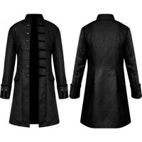 Mens Retro Steampunk Tailcoat Jacket Gothic Victorian Frock Coat Cosplay Suit GE