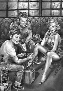 Marilyn Monroe Audrey Hepburn James Dean Tattoo Poster Art Print A4