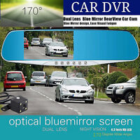 "1080P 4.3"" Dual Lens Car DVR Rear View Mirror Dash Cam Camera Video Recorder"