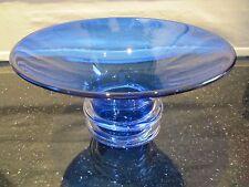 WENDY HANNAM JAM FACTORY AUSTRALIA GLASS BOWL VASE SIGNED HANDMADE COBALT BLUE