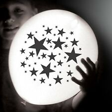 Star LED illoom Balloons - pack of 5 glowing white light up balloons, black star