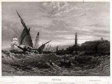 GENOVA DAL MARE. Lanterna. Riviera Ligure. Liguria. ACCIAIO. Stampa Antica. 1832
