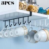 3x Kitchen 6 Hooks Shelf Mug Hanging Metal Cup Storage Rack Cupboard Holder UK