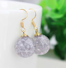 HORSE & WESTERN GIFTS JEWELLERY JEWELRY CRACKLE BALL DROP EARRINGS GREY