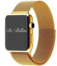 24K Gold 42MM Apple Watch Stainless Steel Gold Plated/Gold Milanese Loop CUSTOM