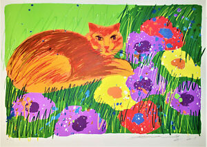 WALASSE TING Cat & Flowers 1981 HAND SIGNED Ltd. Edition Lithograph SAM FRANCIS