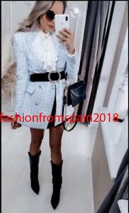 ZARA NEW WOMAN FITTED TEXTURED CHECK BLAZER JACKET BLUE WHITE XS-XL 2818/156