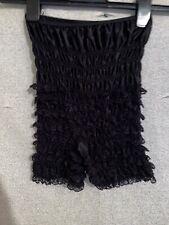 VINTAGE PANTY Ruffle Lace Shorts Bloomers Underpants Underwear Black NYLON S/M