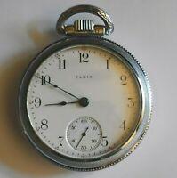 1907 18s 15 Jewels Elgin National Watch Co. USA Pendant Wind Set Pocket Watch