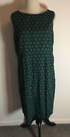 White Stuff Cactus Green Shift Dress Size 14 VGC Cotton Lined