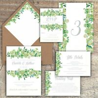 Personalised Wedding Invitations,Luxury Rustic EUCALYPTUS/GREEN/GREY packs of 10