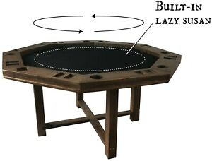 Spinning center gaming table, built in lazy susan