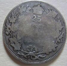 1921 Canada Silver Twenty-Five Cents Coin. KEY DATE BETTER GRADE (RJ220)
