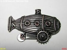 Steampunk pin badge brooch blackened silver airship zeppelin dirigible submarine