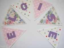 PERSONALISED BUNTING CATH KIDSTON FABRIC Purple Painted Daisy -£2.50/letter flag