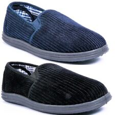 MENS HARD SOLE COMFY SLIP ON BLACK STRIPED WARM INDOOR SLIPPERS SHOES SIZE 6-12