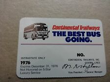 Vintage 1976 Continental Central Trailways Annual Bus Pass-Silver Eagle-Best Bus