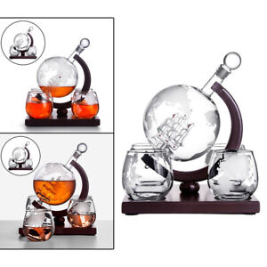 Whiskey Decanter Globe Set with 4 whiskey glasses-for schnapps,, bourbon,