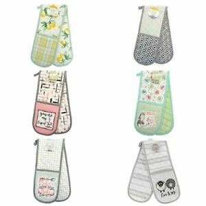 100% COTTON DOUBLE OVEN GLOVES PADDED HEAT RESISTANT KITCHEN POTHOLDER MITTS