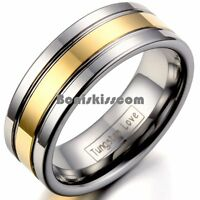 Men's 8mm Silver Tungsten Carbide Ring Gold Tone Stripe Center Wedding Band