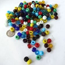 9mm Crow Beads, Pony Beads, 200 Assorted Colors of Glass Beads,Native American