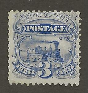 US Stamp #125 1875 Reprint Blue 3 Cent Locomotive Unused NG Cert Faults CV $2500