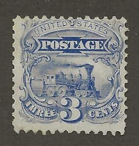 US Stamp #125 1875 Reprint Blue 3 Cent Locomotive Unused NG Cert Faults CV $2500