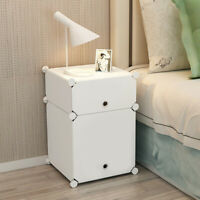 Colorful Bedside Table Cabinet Organizer Lamp Shelf Side Nightstand Unit Storage