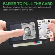 New Unisex Fashion Slim Leather Wallet Minimalist Front Pocket RFID Blocking