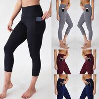 Women's High Waist Yoga Pants Pockets Running Sports Skinny Calf-Length Leggings