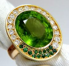 22.50ct natural green peridot diamond demantoid ring 14kt