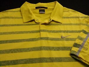 Nike Tiger Woods Mens Large Short Sleeve Yellow Striped Athletic Polo Golf Shirt
