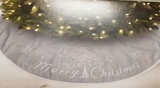 Jaclyn Smith Collection Merry Christmas Burlap Embroided Tree Skirt 48 Inch NWT